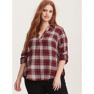 Torrid Red Plaid Twill Pullover Top